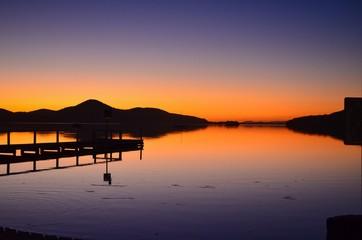 Sunset pier reflection