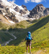 canvas print picture - Hike in mountains