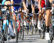 canvas print picture - bicycle racing wheels during the cycle road race