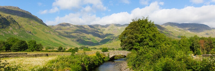 Lake District panorama Mickleden Beck river Langdale Valley