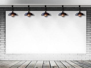 Blank frame on White Brick wall with Ceiling lamp