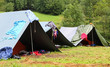 tents in a scout camp and drying laundry out to dry