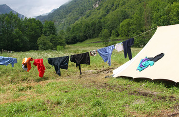 drying laundry to dry near the camping tents