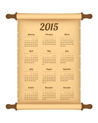 Calendar 2015 on parchment roll