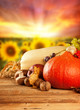 canvas print picture - Autumn harvested fruit and vegetable on wood