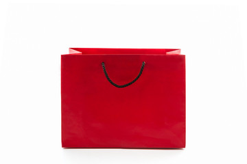 Blank red paper shopping bag.