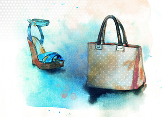 Background with shoes and bag