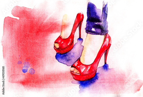Background with shoes - 69038168
