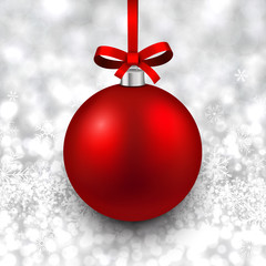 Silver background with christmas ball.