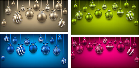 Arc colorful backgrounds with christmas balls.