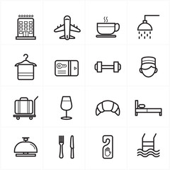 Flat Line Icons For Hotel Icons and Travel Icons