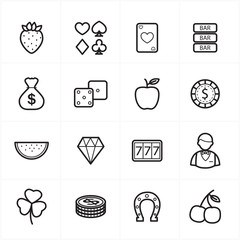 Flat Line Icons For Casino Icons and Game Icons