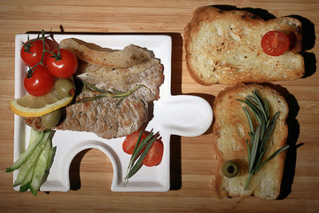 grilled meat with toast restaurant serving