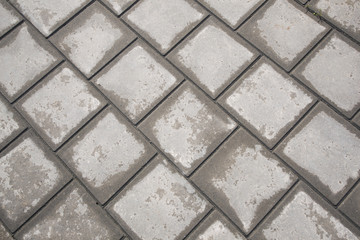 half dried tiles of pavement