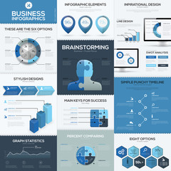 Blue business infographics vector elements and templates