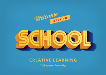 Back to School vector design typography poster vintage