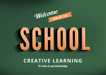 Back to School vector design typography poster template vintage