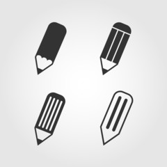Pencil icons set, flat design