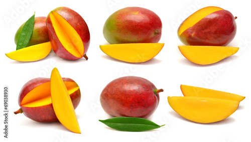 Fotobehang Vruchten Collection of mango with leaf and slices