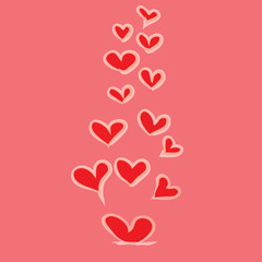 abstract red heart on pink background