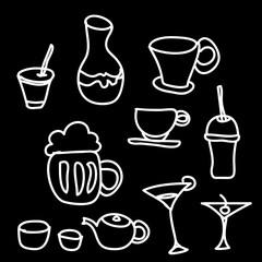 drink & beverage icons set on a black background