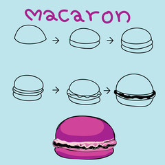 The step order to draw colorful macaron
