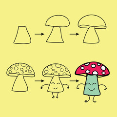 The step order to draw mushroom