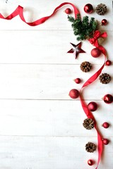 Red ribbon and Christmas tree