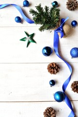 Blue ribbon and Christmas tree