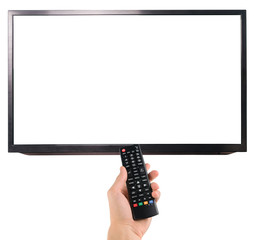 Male hand holding remote control to the TV isolated on white