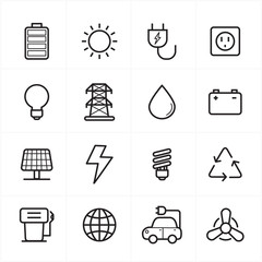 Flat Line Icons For Environment Icons and Ecology Icons