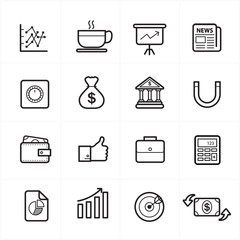 Flat Line Icons For Business Icons and Finance Icons