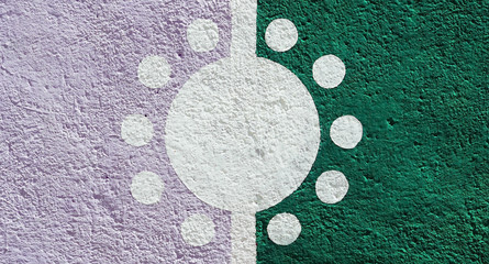 Color wall background with sun design