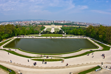 Cityscape view of Vienna from Gloriette at Schoenbrunn palace