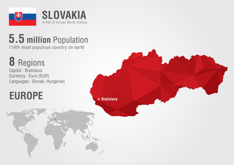 Slovakia world map with a pixel diamond texture.