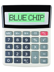Calculator with BLUE CHIP on display isolated on white