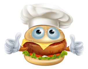 Cartoon chef hamburger character