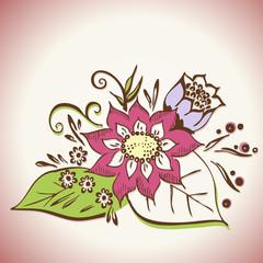 Flower arranging vector illustration - florist decoration