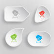 Concrete mixer. White flat vector buttons on gray background.