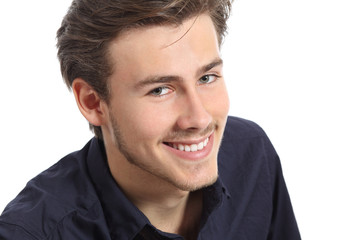Attractive man face portrait with a white perfect smile