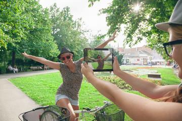Two Young Girls Having Fun Outdoors