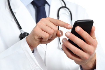 Doctor hands texting on a smart phone