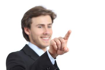 Happy businessman checking a virtual button