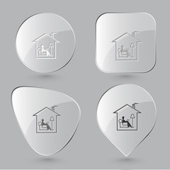 Home reading. Glass buttons. Vector illustration.