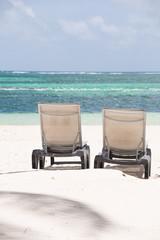 Sunbeds on Caribbean Beach