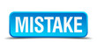 Mistake blue 3d realistic square isolated button