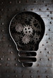concept idea: bulb with working gears and cogs