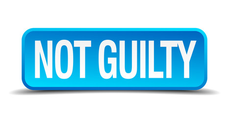 Not guilty blue 3d realistic square isolated button