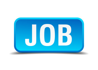 Job blue 3d realistic square isolated button