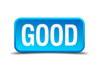 Good blue 3d realistic square isolated button